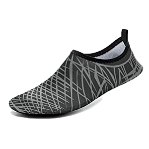CASMAG Men and Women Breathable Mesh Water Aqua Shoes For Beach Pool Surf Park, Driving 01Black W:8.5-9,M:7.5-8.5