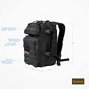 Tactical Backpack by Garud Medium 12 Hr Assault Pack Army Molle Bug Out Backpacks Hunting 25L