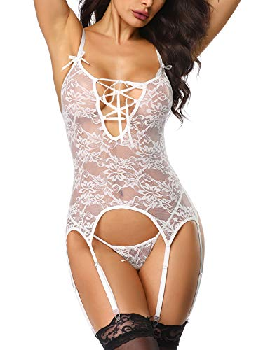 Lace Lace Up Chemise - LALAVAVA Lace Corset Lingerie Set for Women Lace-up Bodysuits with Garter Straps (White, XL)