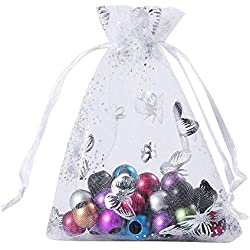 Wuligirl 100pcs 3.54X4.72 Inch White Butterfly Organza Bags with Drawstring for Rings Earrings Wedding Favors Baby Shower Seashell Candy Bags for Women Girls(100pcs White Butterfly)