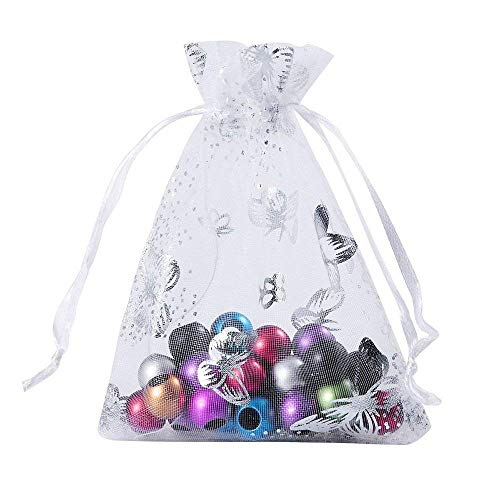 (Wuligirl 100pcs 3.54X4.72 Inch White Butterfly Organza Bags with Drawstring for Rings Earrings Wedding Favors Baby Shower Seashell Candy Bags for Women Girls(100pcs White)