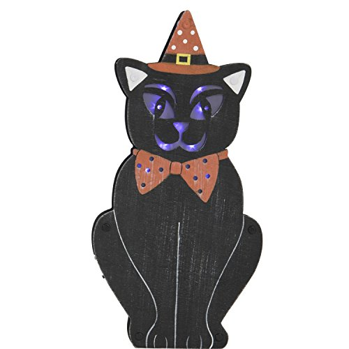 One Holiday Way Lighted Wooden Black Cat in Witch Hat Standing Halloween Sign Tabletop Decoration -
