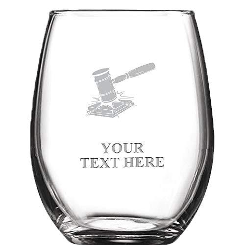 Lawyer Gavel Personalized Wine Glass - 9 oz Custom Soiree Stemless Judge, Law School Graduation Wine Glass Gift Prime