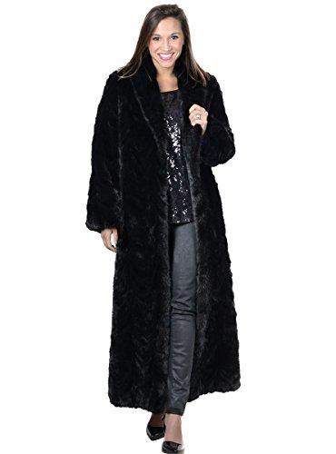Henig Furs Sectioned Mink Coat Shawl Medium RQ Ranch/Black - Full Length Womens Mink Coat