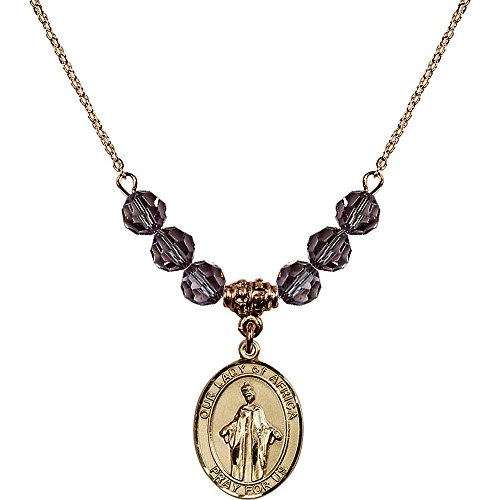 18-Inch Hamilton Gold Plated Necklace with 6mm Light Purple February Birth Month Stone Beads and Our Lady of Africa Charm by Bonyak Jewelry