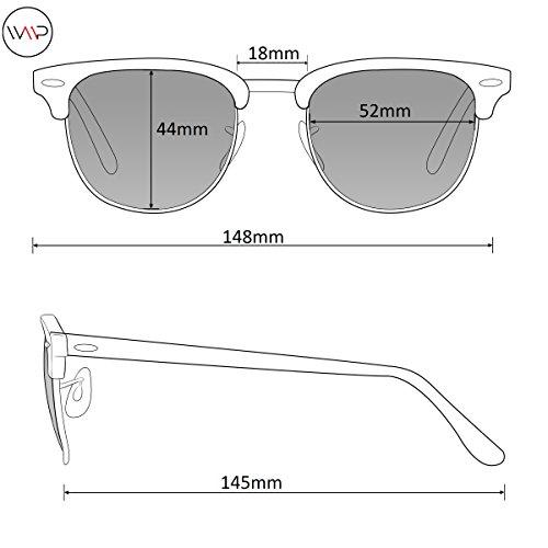 0d98a92ce1 Polarized Clubmaster Classic Half Frame Semi-Rimless Rimmed Sunglasses