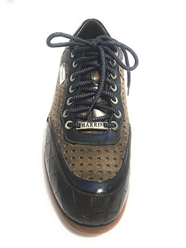Harris Scarpe Uomo Sneaker Cocco Marrone/Ardesia Shade/Suede Tortora LASERATO U17HA63 (10UK - 44 IT)