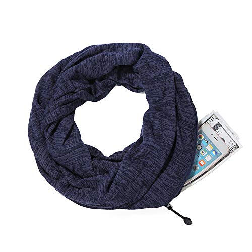 Hethrone Infinity Scarf with Hidden Zipper Pocket Lightweight Solid Color Scraf for Unisex (Navy hemp(thick)) -