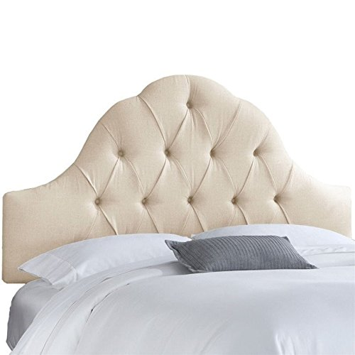 Skyline Upholstered Arch Tufted Queen Headboard in Talc