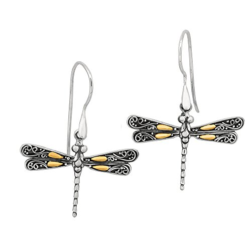18K Gold And Sterling Silver Dragonfly French Wire Drop ()