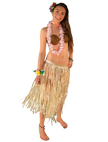 Hawaiian Luau Party Grass Skirt Coconut Bra Lei 5pc Hula Girl Costume, Adult