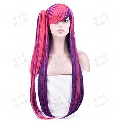 WIAGHUAS Peluca Mujer Larga Recta Pelo Mezclado Peluca Roja Y Púrpura Oblicua Liu Haihu Clip Agarre