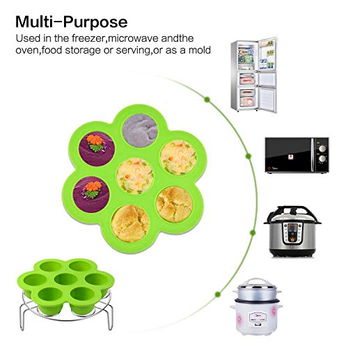 3pcs Accessories Set Kit Compatible with Instant Pot 5 6 8 Quart Pressure Cooker Accessory Silicone Egg Bites Mold+Egg Steamer Rack+7inch Cake Pan Mold Insert Pans by Sonyabecca (Image #5)