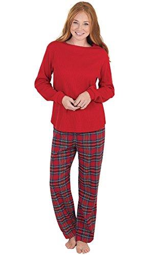 PajamaGram Women Pajamas Set Plaid - Womens Flannel Pajamas Sets, Red, L, 12-14
