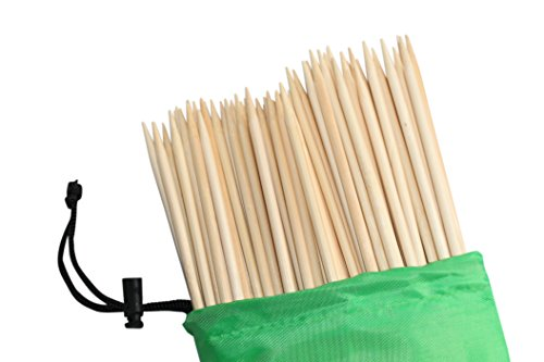 (Cuisinelogic Bamboo Marshmallow S'Mores Roasting Sticks 36 inch 5mm 110 Premium Heavy Duty Skewers with Fabric Storage Bag-All)
