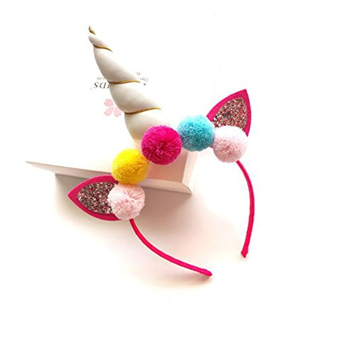 Spotlight Womens Pirate Costume (Gunsamg Party Hats Unicorn Horn Glitter Hard Headband Spiral,Perfect For Kids Birthday Party,Baby Shower,Kindergarten Class Parties(White))
