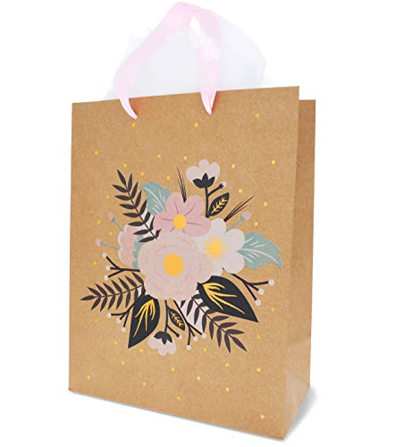 Floral Gift Bags – 12-Pack Brown Kraft Bags for Weddings, Retail - 20 Tissue Paper Sheets Included (13 x 10 Inches) -