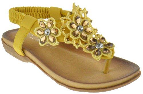 Lucita Crab 800KM Little Girls Gladiator Floral Rhinestone Comfort Flat Sandals Yellow 3