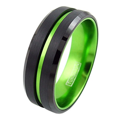 (King's Cross Personalized Engraved 6mm/8mm Black Tungsten Carbide Wedding Band w/Lime Green Stripe & Green Anodized Aluminum Inner Band (Tungsten (8mm), 10.5))