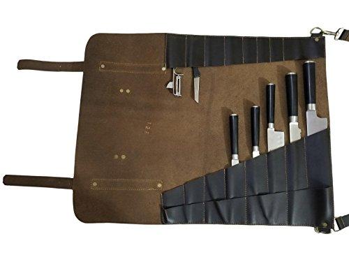 Lightweight Genuine Premium Dark Brown Leather 8 Pockets Professional Chef Knives Bag/Chef Knife Roll by luvsecretlingerie