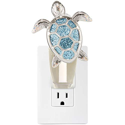 Bath and Body Works White Barn Glittery Sea Turtle Wallflower Plug In Silver and Blue ()
