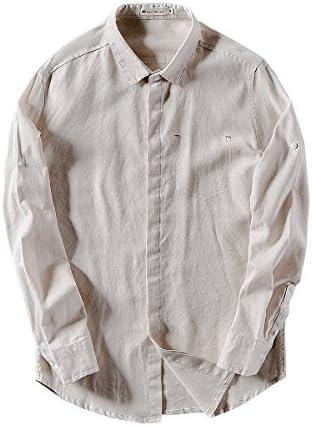メンズ リネン シャツ スタンドカラー yシャツ バンドカラーシャツ 綿麻 長袖 無地 おしゃれ 麻シャツ 通勤シャツ 襟なし 立襟シャツ カジュアルシャツ