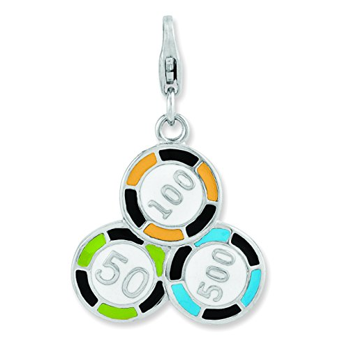 Amore La Vita Sterling Silver Enameled Casino Chips with Lobster Clasp Charm