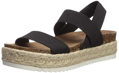 Madden Girl Women's CYBELL Espadrille Wedge Sandal Black Fabric 8.5 M -