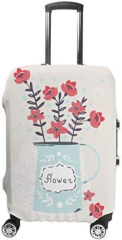 スーツケースカバー トラベルケース 荷物カバー 弾性素材 傷を防ぐ ほこりや汚れを防ぐ 個性 出張 男性と女性瓶の中の春の花