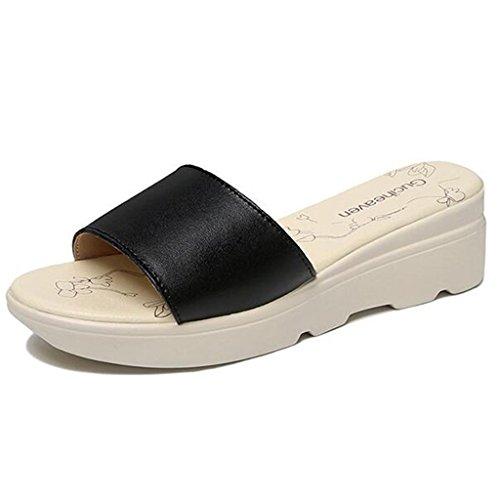 en Femme nbsp; Noir Semelle Été Polyuréthane Pantoufles Chaussures Bout Sandales Plates Ouvert XTwSxqCx