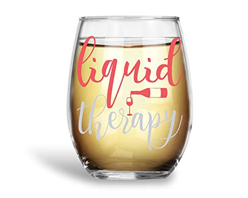Liquid Therapy Funny 15oz Stemless Crystal Wine Glass - Fun Wine Glasses with Sayings Gifts for Women ()