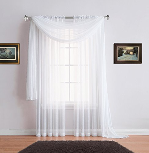 Warm Home Designs Pair of Premium Quality 54 x 63 Inch Short Sheer White Faux-Linen Rod Pocket Curtains. Total Width of These Affordable Drape Panels is 108