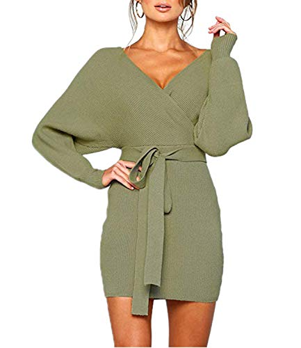 Mansy Women's Sexy Cocktail Batwing Long Sleeve Backless Mock Wrap Knit Sweater Mini Dress Green