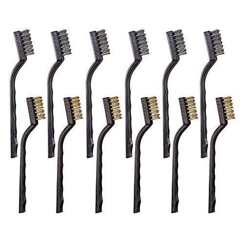(12PCS Mini Wire Brushes, Stainless Steel & Brass Brush Set, Curved Handle Scratch Brush for Automotive, Cleaning Welding Slag and)