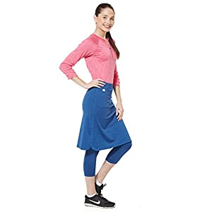 Snoga Modest Workout Athleisure Skirt with 3/4 Leggings - Indigo, Medium