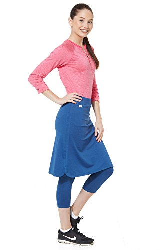Snoga Modest Workout Athleisure Skirt with 3/4 Leggings - Indigo, 2X