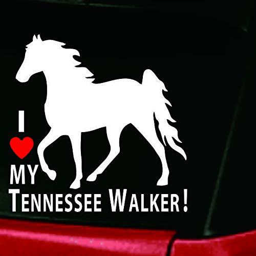 Walker Love (I Love My Tennessee Walker! | DC466HEA Adhesive Vinyl Tennessee Walking Horse Window Decal Sticker)
