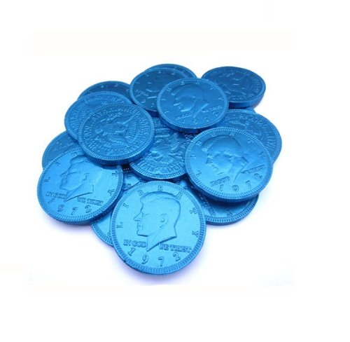 Fort Knox Metallic Foiled Milk Chocolate Sapphire Blue Large Coins in 1 Lb. Mesh Bag
