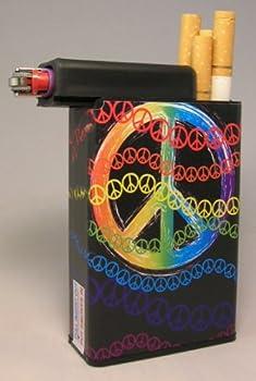 Cigarette Case Peace Sign Colors with Built on Lighter Holder