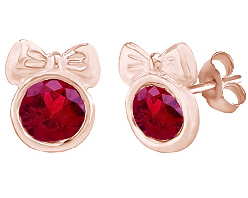 Simulated Ruby Minnie Mouse Bow Stud Earrings 14K Rose Gold Over Sterling Silver