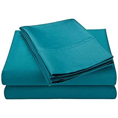 Cotton Blend 600 Thread Count , Deep Pocket, Soft, Wrinkle Resistant 4-Piece King Bed Sheet Set, Solid Teal