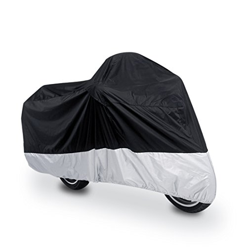 uxcell L 180T Rain Dust UV Protector Scooter Black+Silver Motorcycle Cover 86