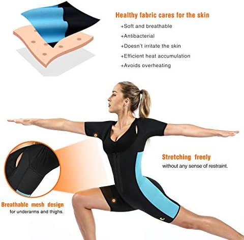 NonEcho Neoprene Sauna Full Shaper Sweat Body Suit Sleeve Slimming Shapewear Weight Loss 5