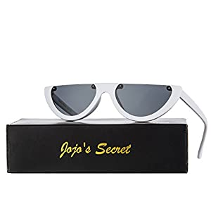 JOJO'S SECRET Half Frame Women Cat Eye Sunglasses Brand Designer Fashion Eyewear JS037 (White/Grey, 2.6)