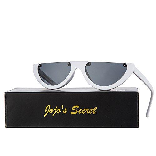 JOJO'S SECRET Half Frame Women Cat Eye Sunglasses Brand Designer Fashion Eyewear JS037 (White/Grey, - Sunglasses Frame Half