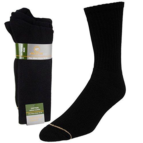 Gold Toe (3 Pairs) Mens Socks Crew Extended Sizes Shoe 12-16 Moisture Wicking Socks Men Over The Calf