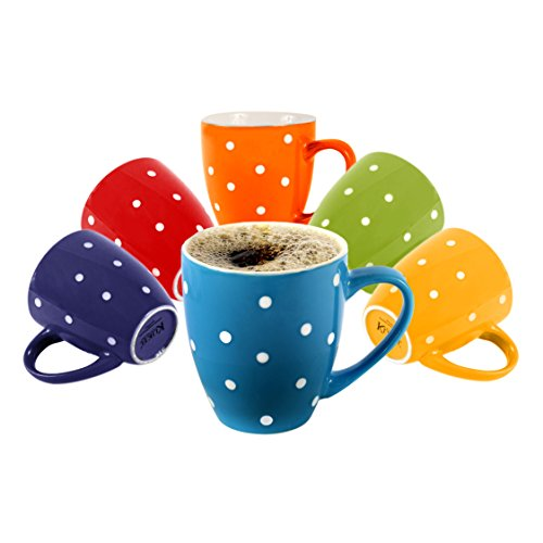 Klikel 6 Polka Dot Coffee Mugs Set | 16oz Flat Bottom Porcelain Dinnerware | Bright Polka Dot Colors