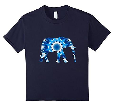 Kids Boho Tie Dye Elephant t-shirt Funky Bohemian Design 12 Navy - Boys Blue Tie Dye