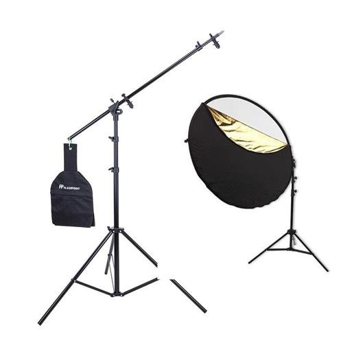 Westcott Photo Basics 40in 5-in-1 Collapsible Reflector Kit with Case, Reflector Holder Arm and Stand - Bundle with Flashpoint 11.5' 5-Section Super Light Stand/Boom Extension/Reflector Holder Arm