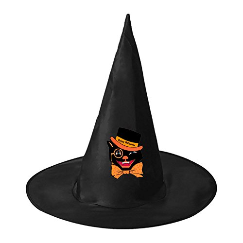 Black Cat Costume Witch Wizard Hat Magic Cap Men Women Halloween Cosplay (Homemade Superhero Couple Costumes)